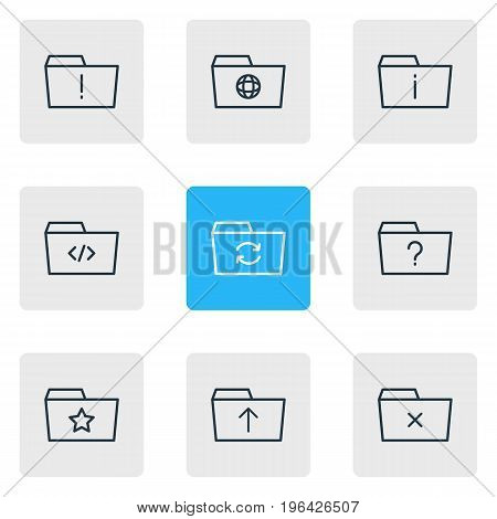 Vector Illustration Of 9 Folder Icons. Editable Pack Of Script, Dossier, Question And Other Elements.