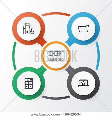 Education Icons Set. Collection Of Document Case, Library, Distance Learning And Other Elements