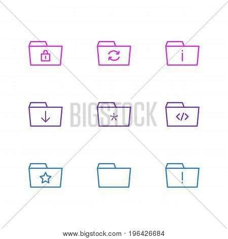 Editable Pack Of Script, Significant, Information And Other Elements. Vector Illustration Of 9 Folder Icons.