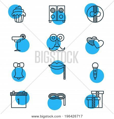 Vector Illustration Of 12 Party Icons. Editable Pack Of Martini, Jingle, Present And Other Elements.