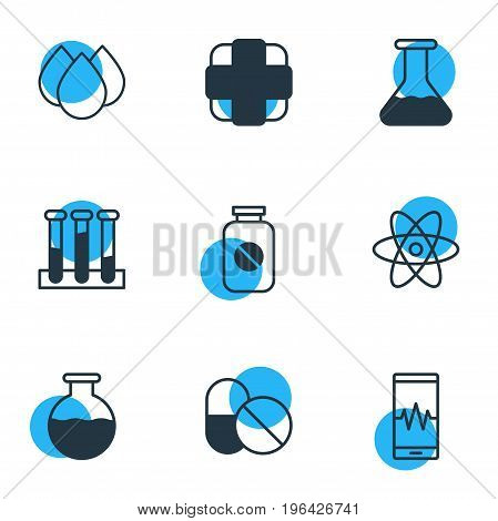 Vector Illustration Of 9 Medical Icons. Editable Pack Of Phone Monitor, Trickle, Pharmaceutical And Other Elements.