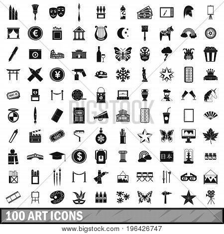 100 art icons set in simple style for any design vector illustration