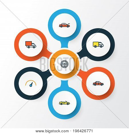 Car Colorful Outline Icons Set. Collection Of Rudder, Car, Sport And Other Elements