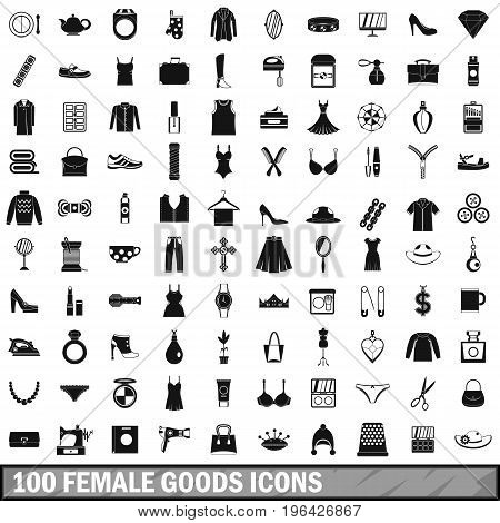 100 female goods icons set in simple style for any design vector illustration