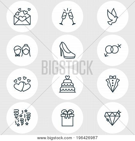 Editable Pack Of Brilliant, Present, Decoration And Other Elements. Vector Illustration Of 12 Marriage Icons.