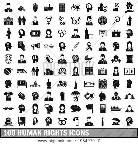 100 human rights icons set in simple style for any design vector illustration