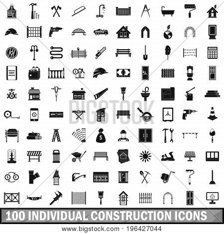 100 individual construction icons set in simple style for any design vector illustration