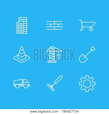 Editable Pack Of Caution, Harrow, Spade And Other Elements. Vector Illustration Of 9 Industry Icons.
