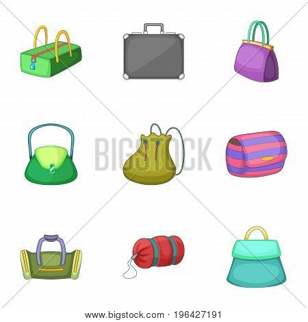 Different bag icons set. Cartoon set of 9 different bag vector icons for web isolated on white background