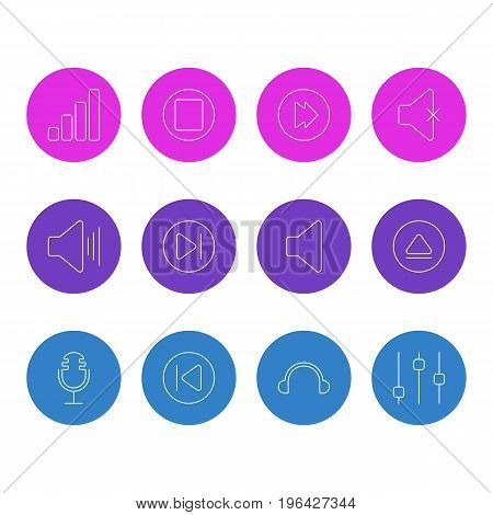 Vector Illustration Of 12 Melody Icons. Editable Pack Of Preceding, Pause, Soundless And Other Elements.