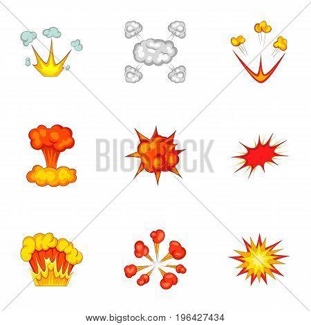 Animation explosion icons set. Cartoon set of 9 animation explosion vector icons for web isolated on white background