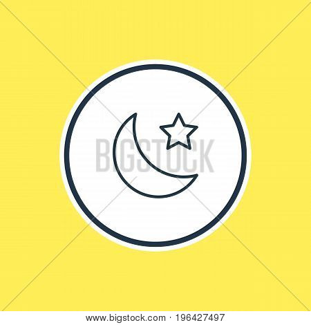 Vector Illustration Of Star Outline. Beautiful Weather Element Also Can Be Used As Crescent Element.