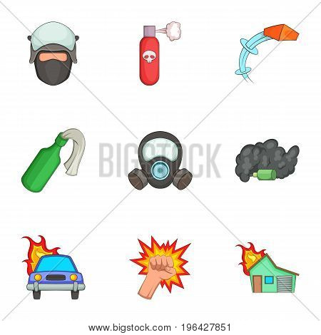 Protest icons set. Cartoon set of 9 protest vector icons for web isolated on white background