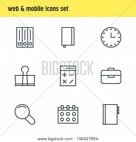 Editable Pack Of Watch, Archive, Binder Clip And Other Elements. Vector Illustration Of 9 Instruments Icons.