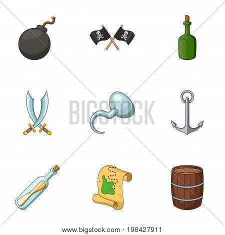 Jolly roger icons set. Cartoon set of 9 jolly roger vector icons for web isolated on white background