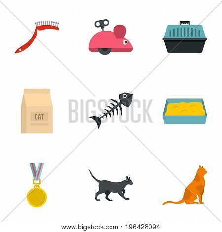 Cat things icons set. Cartoon set of 9 cat cat things vector icons for web isolated on white background