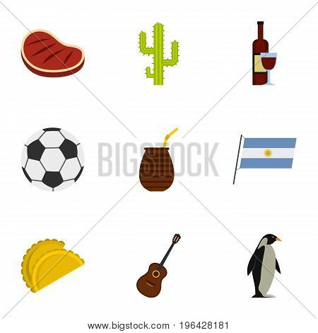 Typical Argentina icons set. Cartoon set of 9 typical Argentina vector icons for web isolated on white background