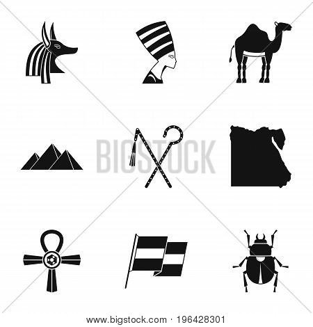 Pharaon of Egypt icons set. Simple set of 9 pharaon of Egypt vector icons for web isolated on white background