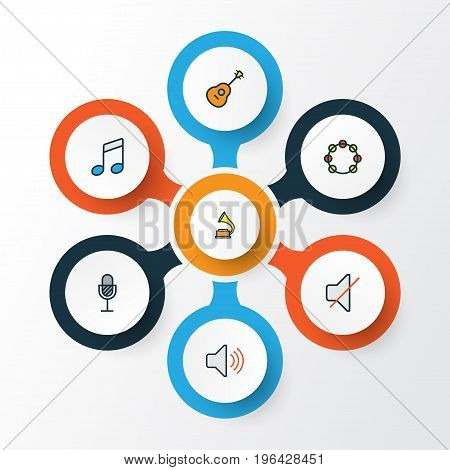 Multimedia Colorful Outline Icons Set. Collection Of Tambourine, Sound, Strings And Other Elements