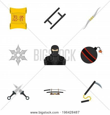 Ninja arsenal icons set. Flat set of 9 ninja arsenal vector icons for web isolated on white background