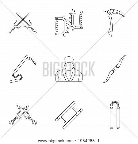 Ninja arsenal icons set. Outline set of 9 ninja arsenal vector icons for web isolated on white background