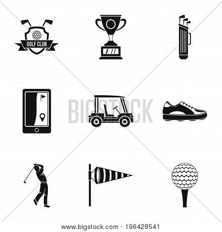 Golf things icons set. Simple set of 9 golf things vector icons for web isolated on white background