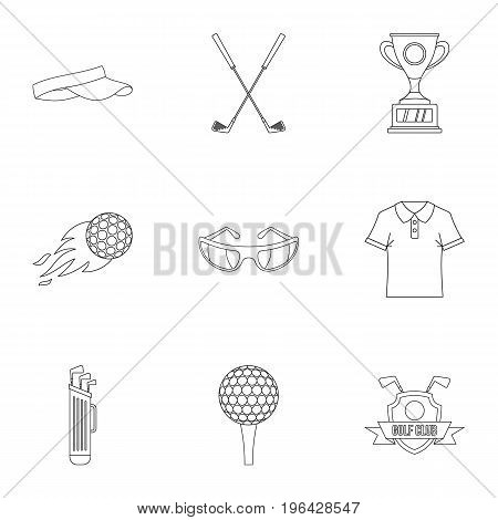 Golf things icons set. Outline set of 9 golf things vector icons for web isolated on white background