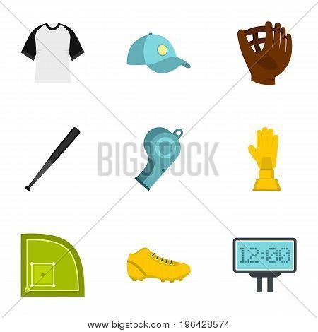 Baseball championship icons set. Flat set of 9 baseball championship vector icons for web isolated on white background
