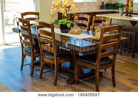 Modern Dining Room Table With High Back Chairs