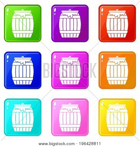 Honey keg icons of 9 color set isolated vector illustration