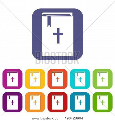 Bible icons set vector illustration in flat style in colors red, blue, green, and other