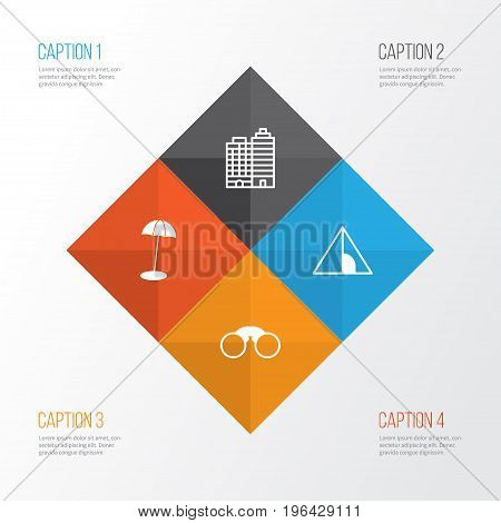 Tourism Icons Set. Collection Of Camping House, Pair Of Glasses, Hotel And Other Elements