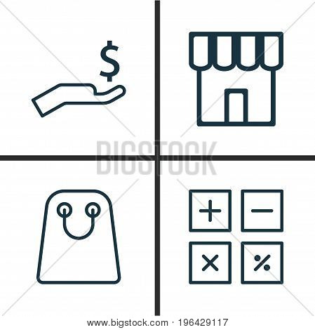 Commerce Icons Set. Collection Of Shop, Rich, Tote Bag And Other Elements