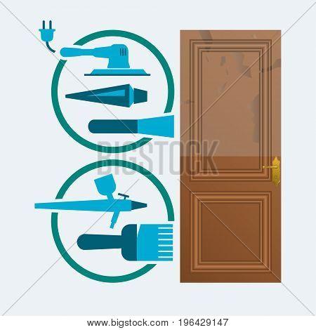 Restore a wood door concept. Door restoration vector symbols