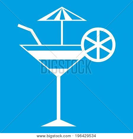 Fruit cocktail icon white isolated on blue background vector illustration