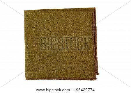 Folded khaki napkin isolated on white background