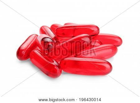 Health care concept. Colorful pills on white background