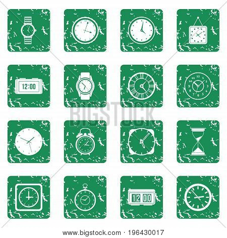 Time and Clock icons set in grunge style green isolated vector illustration