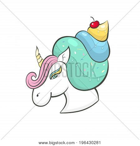 Vector unicorn, icon isolated, cartoon illustration. Head portrait horse, sticker, print a child's T-shirt bright picture for baby holiday, candy, ice cream.