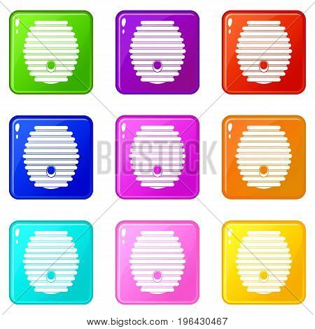 Beehive icons of 9 color set isolated vector illustration