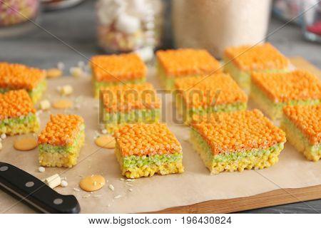 Rice crispy treats on parchment paper