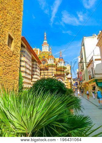 Lloret de mar, Spain - September 14, 2015: View of beautiful church Lloret de Mar, Catalonia, Spain on September 14, 2015