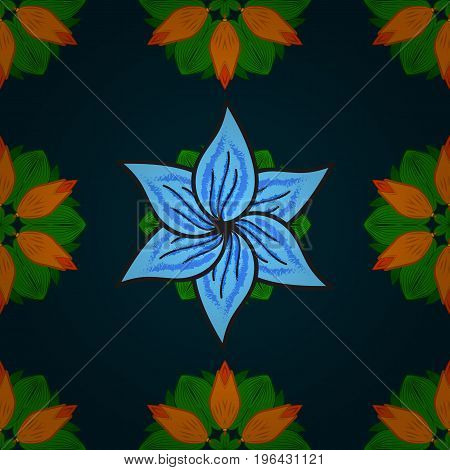 Seamless pattern with floral motif. Seamless floral pattern with blue flowers watercolor. Vector flower illustration.