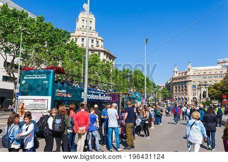 Barcelona, Spain - April 16: View Of Catalonia Square In Barcelona, Spain 16 Aplril 2017. Famous Tou
