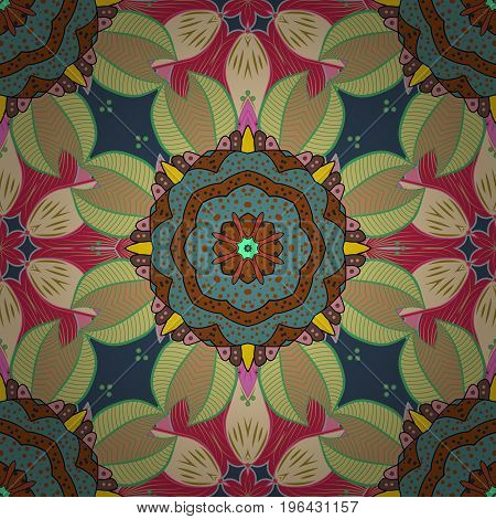 Vector ornaments background. Seamless pattern with abstract ornament. Seamless pattern with Mandalas.