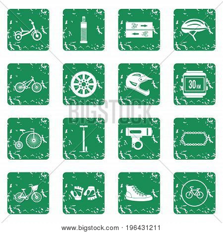 Biking icons set in grunge style green isolated vector illustration