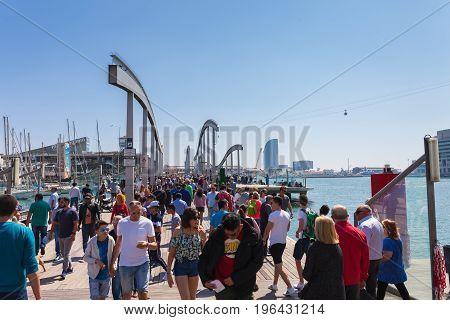 Barcelona, Spain - April 16: View Of Promenade Seafront Near Boulevard Rambla In Barcelona, Spain 16