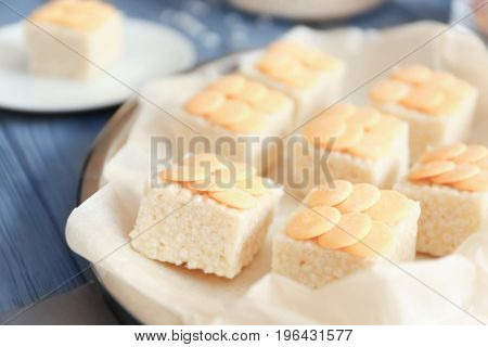 Rice crispy treats on metal tray