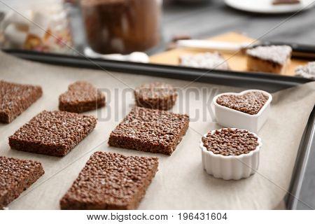 Rice crispy treats on baking tray