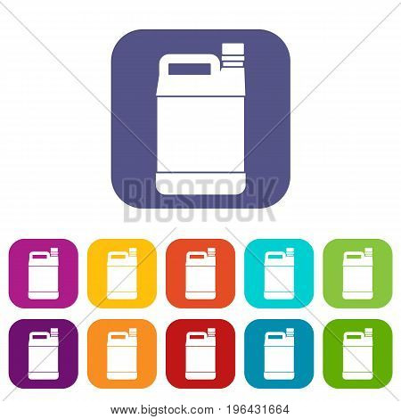 Jerrycan icons set vector illustration in flat style in colors red, blue, green, and other